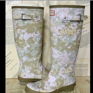 Hunter Tall Flecktarn Camo Waterproof Rain Boots 7